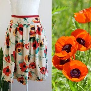 Kookaï Silk Poppy Print Skirt